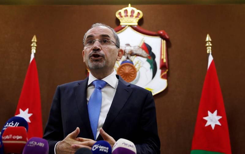 Jordanian Foreign Minister Ayman Safadi addresses the press in Amman, Jordan, July 2, 2018. REUTERS/Muhammad Hamed