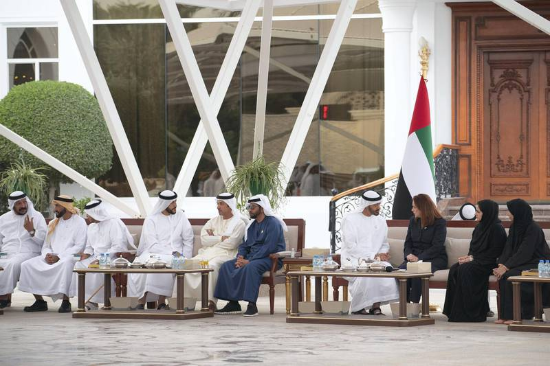 JUMEIRAH, DUBAI, UNITED ARAB EMIRATES - February 11, 2019: HH Sheikh Mohamed bin Zayed Al Nahyan Crown Prince of Abu Dhabi Deputy Supreme Commander of the UAE Armed Forces (4th R), meets with Maria Fernanda Espinosa, President of the United Nations General Assembly (3rd R), during a Sea Palace barza.  Seen with HH Sheikh Saeed bin Mohamed Al Nahyan (L), HH Sheikh Nahyan Bin Zayed Al Nahyan, Chairman of the Board of Trustees of Zayed bin Sultan Al Nahyan Charitable and Humanitarian Foundation (2nd L), HH Sheikh Issa bin Zayed Al Nahyan (3rd L), HH Sheikh Abdullah bin Rashid Al Mu'alla, Deputy Ruler of Umm Al Quwain (4th L), HH Sheikh Hazza bin Zayed Al Nahyan, Vice Chairman of the Abu Dhabi Executive Council (5th L), HH Sheikh Hamdan bin Zayed Al Nahyan, Ruler's Representative in Al Dhafra Region (6th L), and Hana Al Hashemi (2nd R), and HE Maryam Eid Al Mheiri, CEO of Media Zone Authority & and CEO of twofour54 (R).  ( Ryan Carter / Ministry of Presidential Affairs ) ---