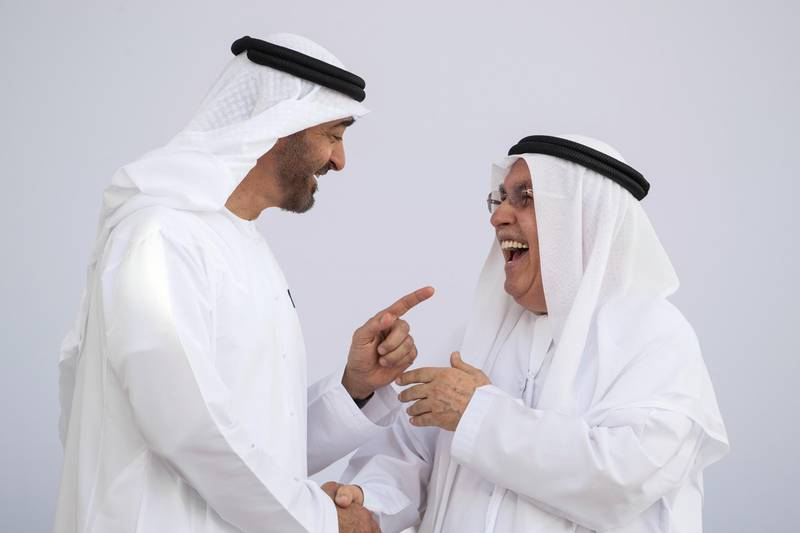 ABU DHABI, UNITED ARAB EMIRATES -  March 12, 2018: HH Sheikh Mohamed bin Zayed Al Nahyan, Crown Prince of Abu Dhabi and Deputy Supreme Commander of the UAE Armed Forces (L), presents an Abu Dhabi Award to HE Ibrahim Abdulrahman Al Abed (R), during the awards ceremony at the Sea Palace. ( Ryan Carter for the Crown Prince Court - Abu Dhabi ) ---