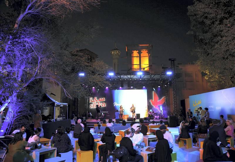 Dubai, March 20, 2018: Artists perform at the Sikka Art fair at Al Fahidi Historical District in Dubai. Satish Kumar for the National
