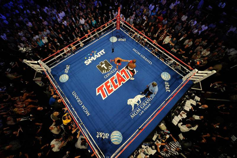 LAS VEGAS, NV - JUNE 09:  An overhead view of the ring as Manny Pacquiao (L) punches Timothy Bradley during their WBO welterweight title fight at MGM Grand Garden Arena on June 9, 2012 in Las Vegas, Nevada.  (Photo by Kevork Djansezian/Getty Images)