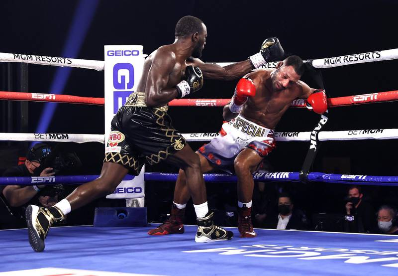 LAS VEGAS, NV - NOVEMBER 14: Terence Crawford and Kell Brook exchange punches during their fight for the WBO welterweight title at the MGM Grand Conference Center on November 14, 2020 in Las Vegas, Nevada. (Photo by Mikey Williams/Top Rank Inc via Getty Images)