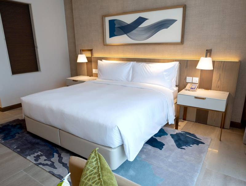 Abu Dhabi, United Arab Emirates, February 18, 2021. First-look pictures of the new Hilton Abu Dhabi Yas Island.  Deluxe suite.  Victor Besa/The National Section:  LFReporter:  Hayley Skirka