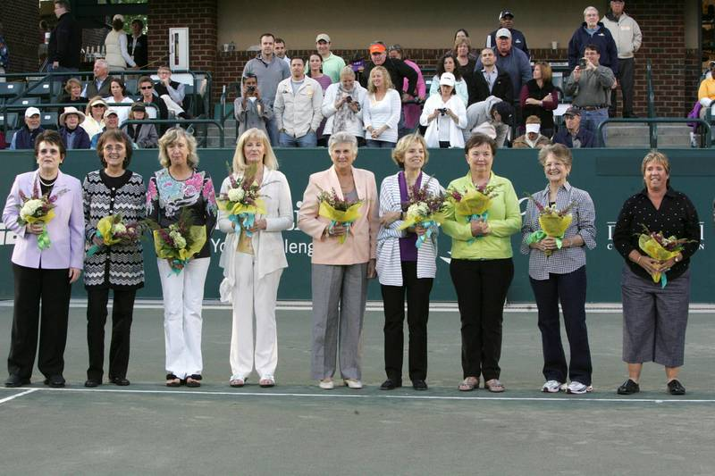 """FILE PHOTO: (L-R) Members of the """"Original Nine"""" Billie Jean King, Jane """"Peaches"""" Bartkowicz, Kristy Pigeon, Valerie Ziegenfuss, Judy Tegart Dalton, Julie Heldman, Kerry Melville Reid, Nancy Richey, and Rosemary """"Rosie"""" Casals, who started the Women's Tennis Association, pose for a photo at the 40th anniversary of Family Circle Cup tennis tournament in Charleston, South Carolina April 7, 2012. REUTERS/Mary Ann Chastain/File Photo"""