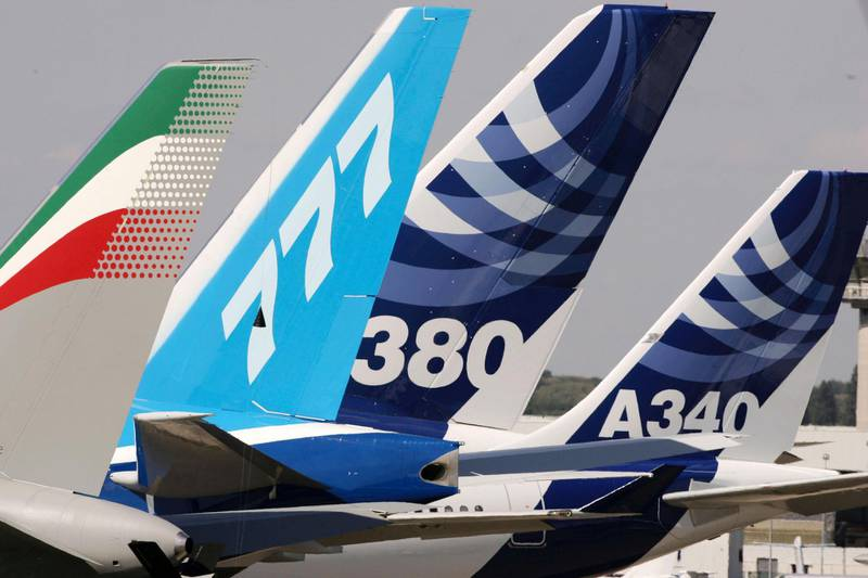 PARIS - JUNE 13:  The tail of the Airbus A-380, the world's largest passenger liner, is seen during the plane's first public appearance at the 46th Paris Air Show June 13, 2005 in the Paris suburb of Le Bourget, France. The air show, held every two years, is one of the aviation industry's biggest displays of military and civilian aircraft.  (Photo by Pascal Le Segretain/Getty Images)