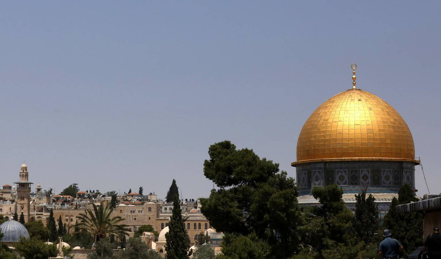 epa06747353 A General view of the Dome of the Rock at al-Aqsa mosque compound during the first Friday prayers of the Muslims' Holy month of Ramadan in Jerusalem, 18 May 2018. Israeli authorities allowed access to Jerusalem for women and children, limiting the age of men to those over 40. Muslims around the world celebrate the holy month of Ramadan by praying during the night time and abstaining from eating, drinking, and sexual acts daily between sunrise and sunset. Ramadan is the ninth month in the Islamic calendar and it is believed that the Koran's first verse was revealed during its last 10 nights.  EPA/ALAA BADARNEH