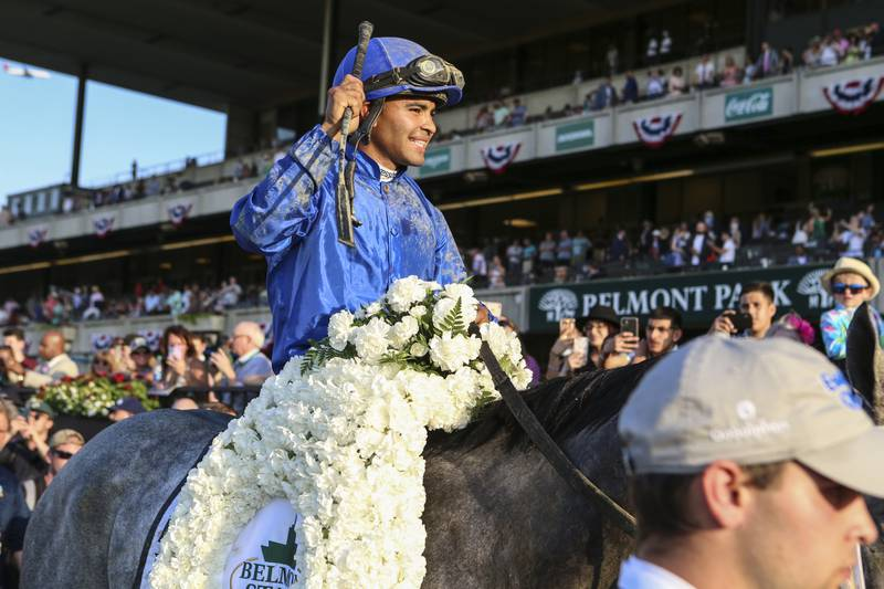 Jun 5, 2021; Elmont, New York, USA;  Essential Quality ridden by Luis Saez enters the WinnerÕs Circle after winning the 153rd running of the Belmont Stakes at Belmont Park. Mandatory Credit: Wendell Cruz-USA TODAY Sports
