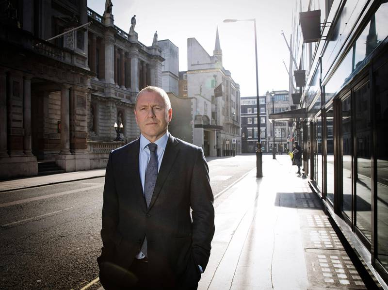 epa08324960 Nicolai Tangen poses on the street in London, England, 26 March 2020. Tangen is the new CEO of the Norges Bank Investment Management.  EPA-EFE/Nina E. Rangoy NORWAY OUT NORWAY OUT