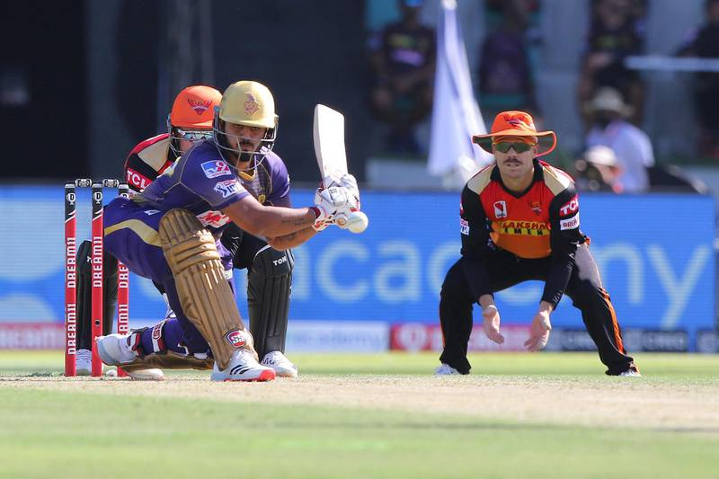 Nitish Rana of Kolkata Knight Riders plays a shot during match 35 of season 13 of the Dream 11 Indian Premier League (IPL) between the Sunrisers Hyderabad and the Kolkata Knight Riders at the Sheikh Zayed Stadium, Abu Dhabi  in the United Arab Emirates on the 18th October 2020.  Photo by: Pankaj Nangia  / Sportzpics for BCCI