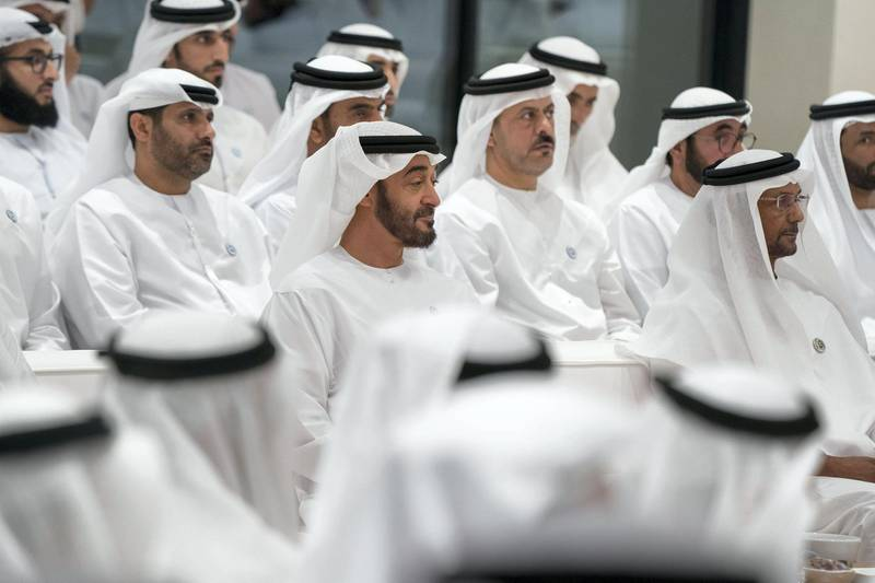 ABU DHABI, UNITED ARAB EMIRATES - May 23, 2018: HH Sheikh Mohamed bin Zayed Al Nahyan, Crown Prince of Abu Dhabi and Deputy Supreme Commander of the UAE Armed Forces (C) attends a lecture by Angela Duckworth (not shown), titled 'True Grit: The Surprising, and Inspiring Science of Success', at Majlis Mohamed bin Zayed. Seen with HH Sheikh Fahim bin Sultan Al Qasimi (R). (Mohamed Al Hammadi / Crown Prince Court - Abu Dhabi ) ---