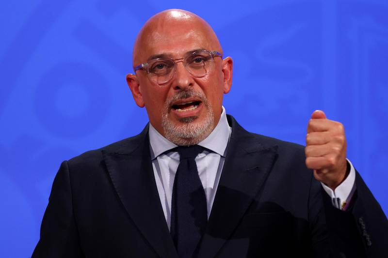 Britain's COVID-19 Vaccine Deployment Minister Nadhim Zahawi speaks during a media briefing on the coronavirus disease (COVID-19) pandemic, at Downing Street in London, Britain, June 23, 2021. REUTERS/Tom Nicholson/Pool