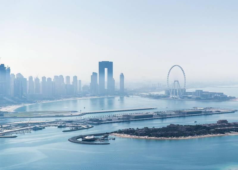 DUBAI, UNITED ARAB EMIRATES. 18 JANUARY 2021. Dubai skyline seen from St Regis hotel on the Palm Jumeirah.(Photo: Reem Mohammed/The National)Reporter:Section: