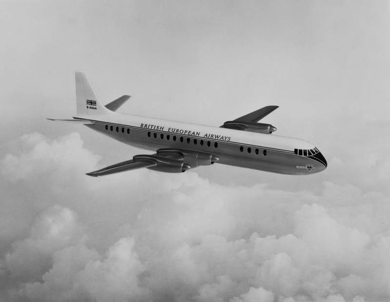 An impression of  the British European Airways (BEA) Vickers Viscount medium-range four engined turboprop commercial airliner circa 1960.  (Photo by Fox Photos/Hulton Archive/Getty Images).