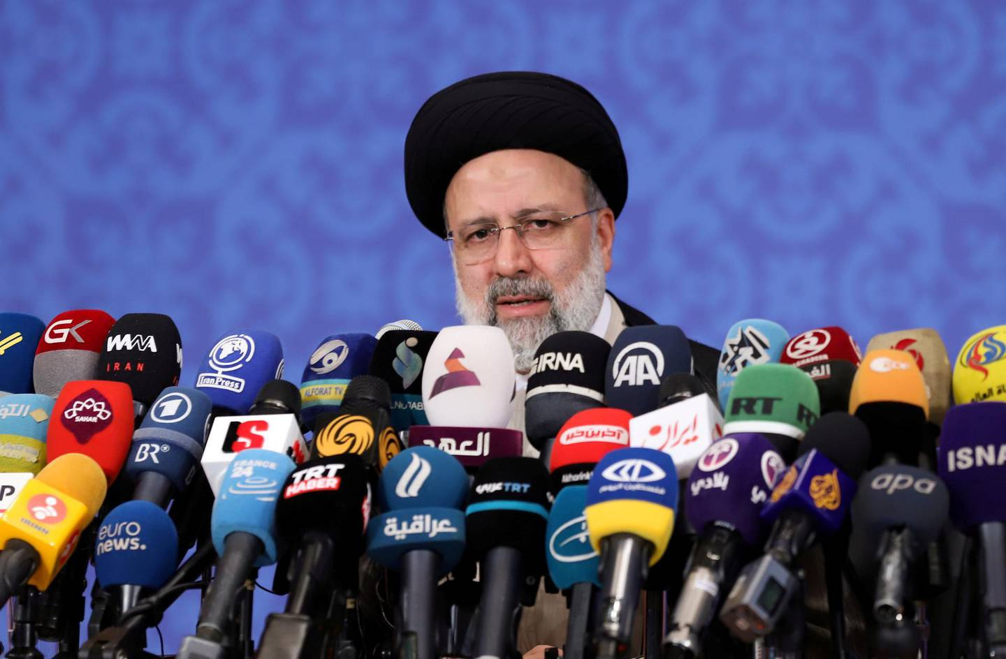 FILE PHOTO: Iran's President-elect Ebrahim Raisi speaks during a news conference in Tehran, Iran June 21, 2021. Majid Asgaripour/WANA (West Asia News Agency) via REUTERS/File Photo