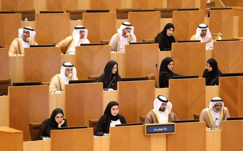 ABU DHABI , UNITED ARAB EMIRATES , Nov 14 – 2019 :-  FNC members during the first meeting of the Federal National Council session held at FNC office in Abu Dhabi. ( Pawan Singh / The National )  For News. Story by Haneen