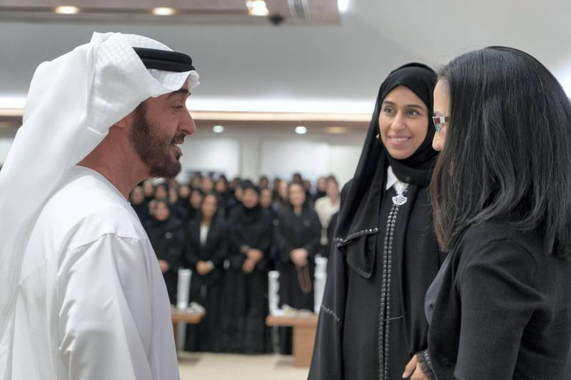 ABU DHABI, UNITED ARAB EMIRATES - May 23, 2018: HH Sheikh Mohamed bin Zayed Al Nahyan, Crown Prince of Abu Dhabi and Deputy Supreme Commander of the UAE Armed Forces (L) speaks with HE Hessa Essa Buhumaid, UAE Minister of Community Development (2nd L) and Angela Duckworth (R), prior to a lecture titled 'True Grit: The Surprising, and Inspiring Science of Success', at Majlis Mohamed bin Zayed.  ( Rashed Al Mansoori / Crown Prince Court - Abu Dhabi ) —