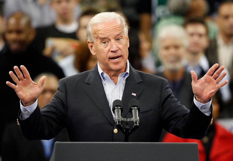 epa02423072 Vice President Joe Biden speaks during a campaign rally at Cleveland State University in Cleveland, Ohio, USA, 31 October 2010. United States President Barack Obama faces a humiliating defeat in 02 October mid-term congressional elections, according to opinion polls. The opposition Republicans are looking at a landslide victory with at least 50 seats almost guaranteed in the lower house of Congress, the House of Representatives - they only need another 39 to gain a majority.  EPA/DAVID MAXWELL