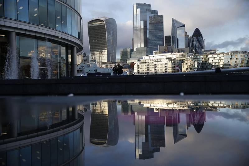 A picture shows the office buildings of the City of London reflected in a puddle in central London on November 3, 2020 as England prepares to head into a second coronavirus lockdown in an effort to combat soaring infections. England will head into a second national lockdown on November 5. / AFP / Hollie Adams