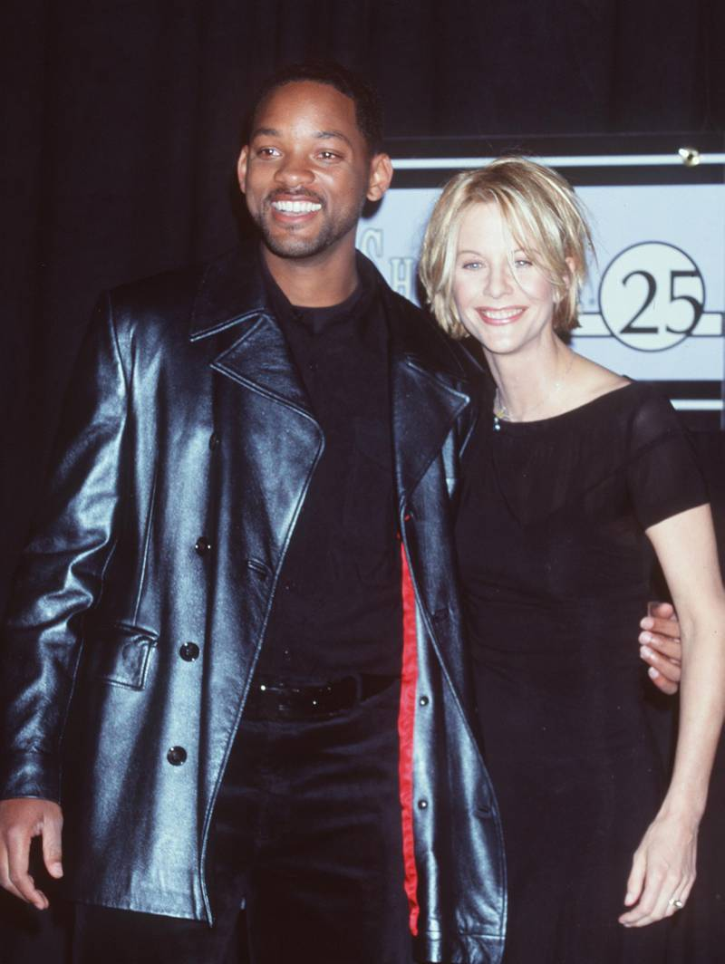 """3/10/99 Las Vegas, NV. ShoWest 1999 Actor of the Year, Will Smith (""""Wild Wild West"""") with Actress of the Year, Meg Ryan at the ShoWest ''99 Convention."""