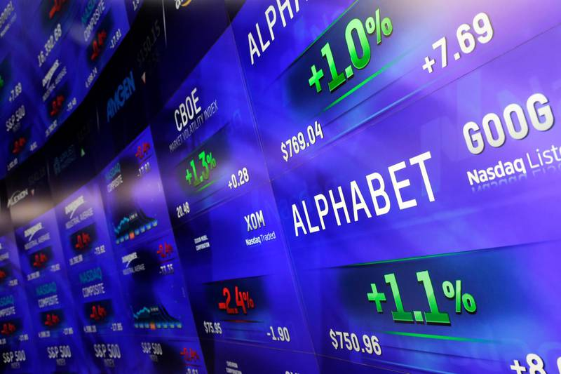 FILE - In this Feb. 1, 2016, file photo, electronic screens post prices of Alphabet stock at the Nasdaq MarketSite in New York. Google parent Alphabet Inc. outspent all other companies on lobbying Washington bureaucrats and politicians in 2017, a year in which it and other tech giants were hauled before legislators probing Russian influence in the 2016 election. (AP Photo/Mark Lennihan, File)