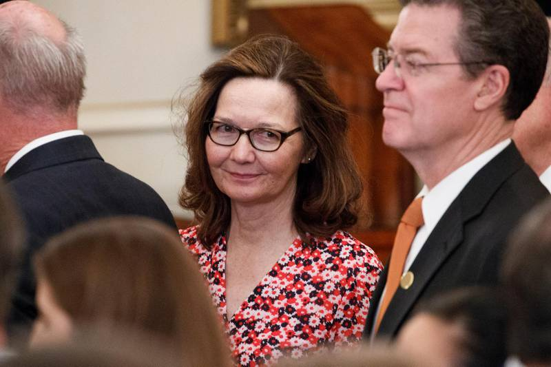 epa06707164 CIA Director nominee Gina Haspel attends the ceremonial swearing in ceremony for US Secretary of State Mike Pompeo at the State Department in Washington, DC, USA, 02 May 2018. Secretary Pompeo succeeds Rex Tillerson as the 70th US Secretary of State.  EPA/SHAWN THEW