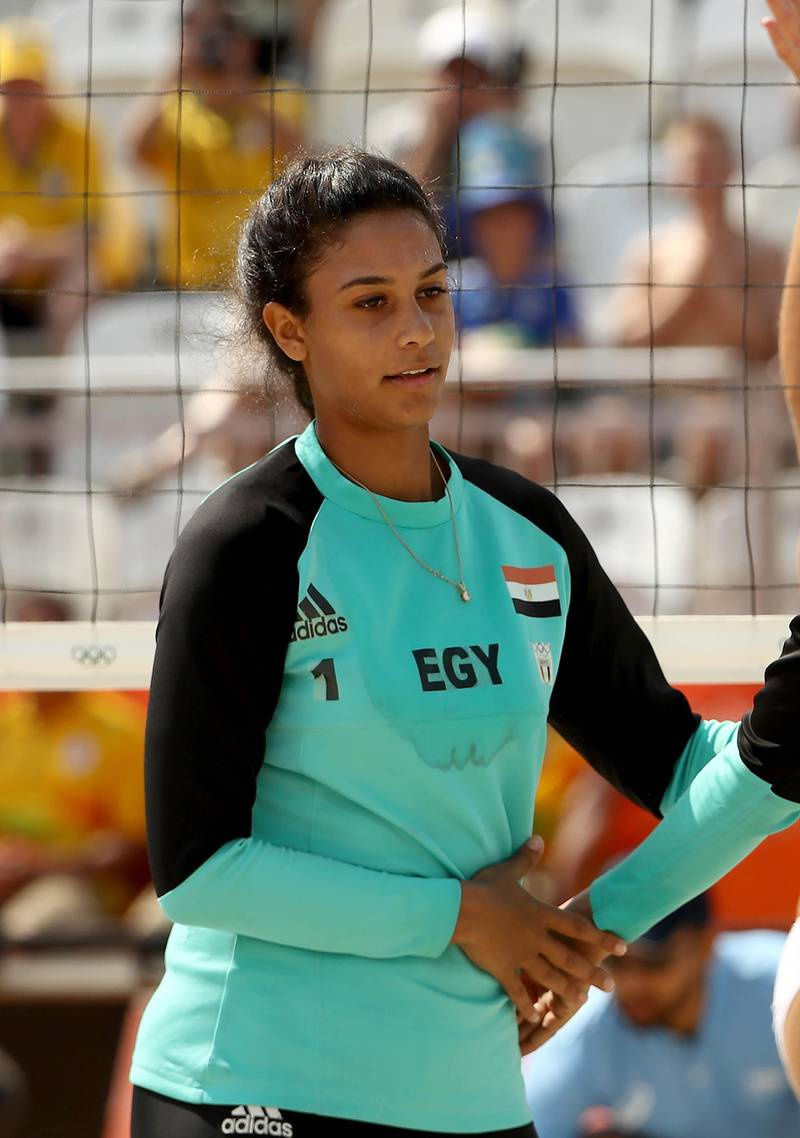 RIO DE JANEIRO, BRAZIL - AUGUST 09:  Nada Meawad (L) and Doaa Elghobashy of Egypt looks on during the Women's Beach Volleyball Preliminary Pool A match against Marta Menegatti and Laura Giombini of Italy on Day 4 of the Rio 2016 Olympic Games at the Beach Volleyball Arena on August 9, 2016 in Rio de Janeiro, Brazil.  (Photo by Ezra Shaw/Getty Images)