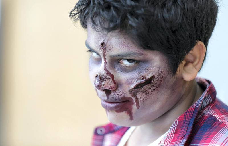 """Dubai, April 12,2019.   MEFCC day 2-Saif Bindhabooi in his """"Walking Dead"""" Zombie get-up.Victor Besa/The National.Section:  AcReporter:  Chris Newbould"""