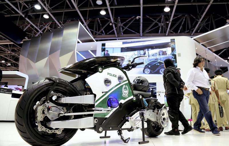 Dubai, 08, Oct, 2017 : Visitors  browse the Dubai Police stands  during the  37th Gitex Technology Week at the World Trade Centre in Dubai. Satish Kumar / For the National