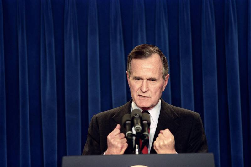 Picture taken on November 30, 1990 at Washington showing US President George Bush speaking to the nation about the U.N. authorization to use the force to end the Iraqi occupation of Kuwait. (Photo by David AKE / AFP)