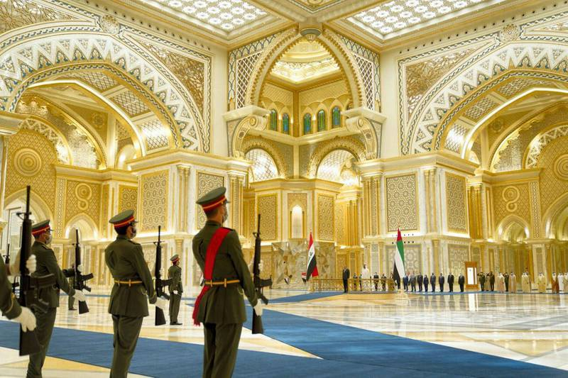 The official reception for Iraqi Prime Minister Kadhimi with Sheikh Mohamed Bin Zayed at Qasr Al Watan. Courtesy the Iraqi Prime Minister's Office