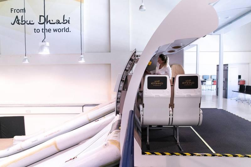 ABU DHABI, UNITED ARAB EMIRATES - JUNE 26 2019.Emergency training facilities at Etihad Aviation Training (EAT).Photo by Reem Mohammed/The National)Reporter: Section: BZ