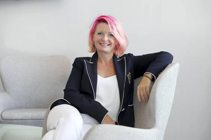 DUBAI , UNITED ARAB EMIRATES , MARCH 15  – 2017 :-  Amanda Perry , Chief Executive of Vitality at the In5 office in Dubai Media City in Dubai. ( Pawan Singh / The National ) For Business