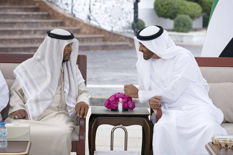 ABU DHABI, UNITED ARAB EMIRATES - January 14, 2018: HH Sheikh Mohamed bin Zayed Al Nahyan Crown Prince of Abu Dhabi Deputy Supreme Commander of the UAE Armed Forces (R), speaks with HH Sheikh Sultan bin Zayed Al Nahyan, UAE President's Representative (L), during a Sea Palace barza.  ( Hamad Al Kaabi / Crown Prince Court - Abu Dhabi ) ---