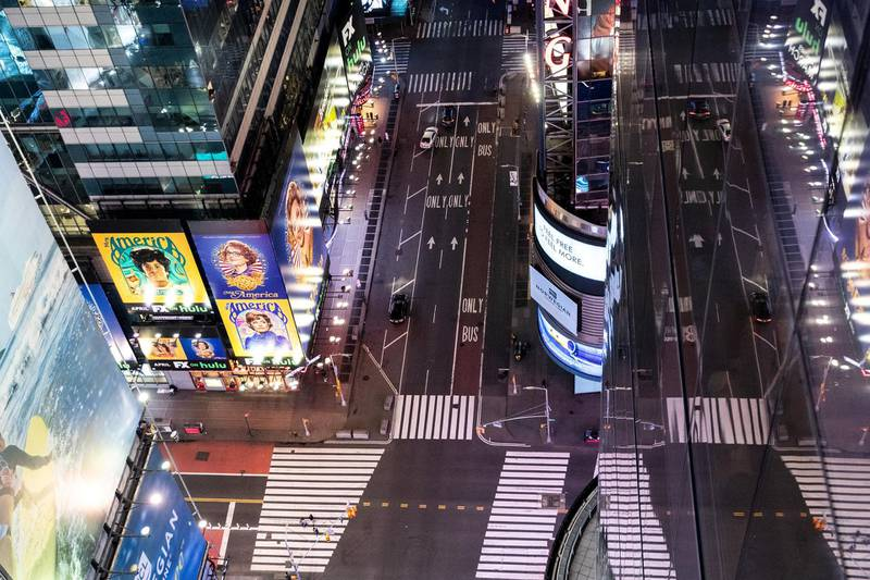 An empty Times Square is seen on the street following the outbreak of coronavirus disease (COVID-19), in New York City, U.S., March 18, 2020. REUTERS/Jeenah Moon