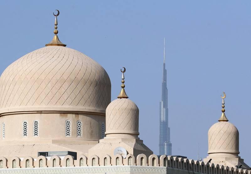 Masjid Rawda Al Abrar with the Burj Khalifa at sunset in Dubai on April 22nd, 2021. Chris Whiteoak / The National.  Reporter: N/A for News