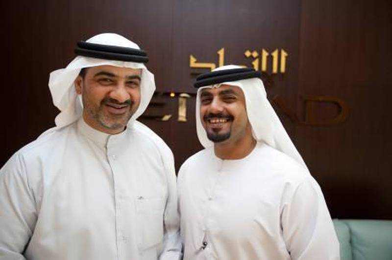 March 22, 2011 (Abu Dhabi) Ali al Shamsi, left, and Taryam al Subaihi, both employees with Etihad Airways participated in an international expedition to Antarctica where they spent two weeks exploring the continent. (Sammy Dallal / The National)