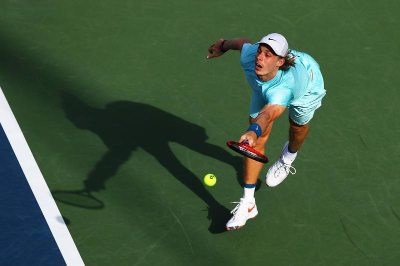 DUBAI, UNITED ARAB EMIRATES - MARCH 18: Denis Shapovalov of Canada stretches to play a forehand in his Quarter-Final singles match against Jeremy Chardy of France during Day Twelve of the Dubai Duty Free Tennis Championships at Dubai Duty Free Tennis Stadium on March 18, 2021 in Dubai, United Arab Emirates. (Photo by Francois Nel/Getty Images)
