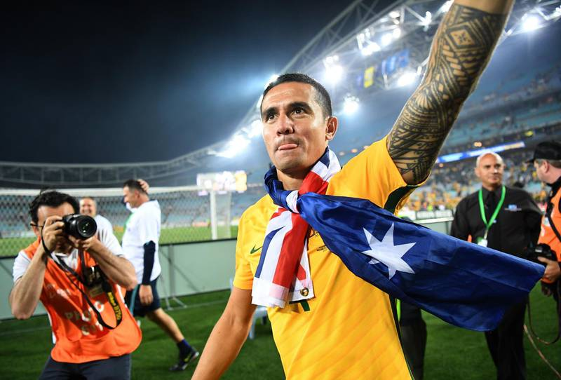 epa06331001 Australia's Tim Cahill celebrates after winning the 2018 FIFA World Cup second leg play-off soccer match between Australia and Honduras, in Sydney, Australia, 15 November 2017.  EPA/DAVID MOIR AUSTRALIA AND NEW ZEALAND OUT