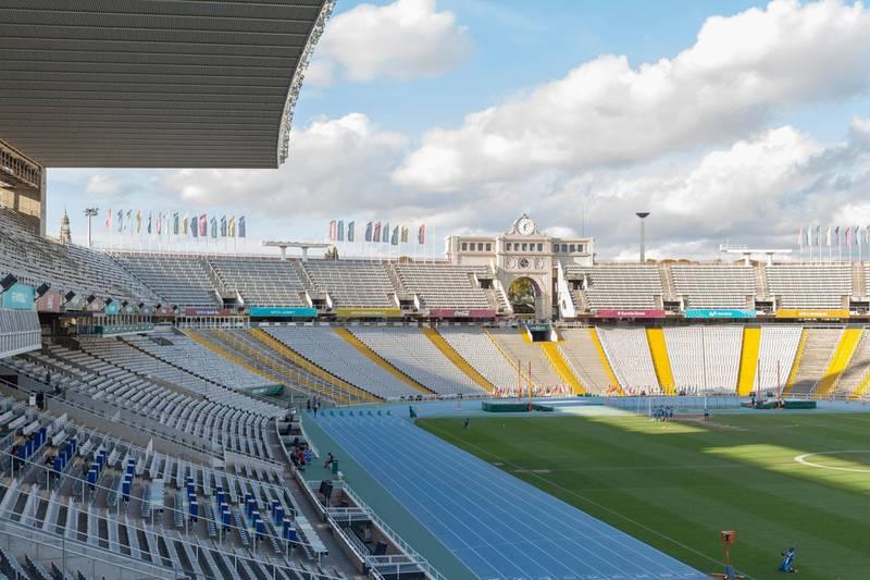 HP0NYY BARCELONA,SPAIN-SEPTEMBER 18,2016: Interior of Olympic stadium Lluis Companys in parck Montjuic, Barcelona. Alamy