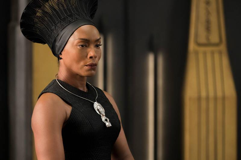 """This image released by Disney -Marvel Studios shows, Angela Bassett in a scene from """"Black Panther."""" Danai Gurira says the representation of women in """"Black Panther"""" is important for young girls to see. The film features a number of powerful female leads, including Gurira as the head of a special forces unit, Lupita Nyong'o as a spy, Bassett as the Queen Mother and newcomer Letitia Wright as a scientist and inventor.  (Matt Kennedy/Disney/Marvel Studios via AP)"""