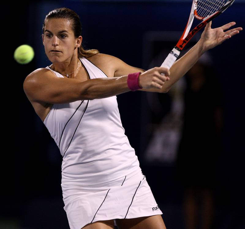 Amelie Mauresmo of France in action during her first-round match against Anabel Medina Garrigues of Spain at the center court of the Aviation Club in Dubai, United Arab Emirates, Tuesday, February 26,2008. {Photo by Paulo Vecina}