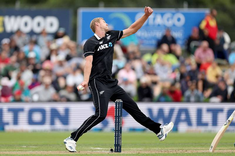 New Zealand's Kyle Jamieson bowls during the 1st cricket ODI match between New Zealand and Bangladesh at University Oval in Dunedin on March 20, 2021. / AFP / Marty MELVILLE