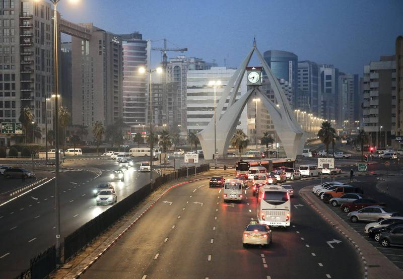 Dubai, December 23, 2017.  Foggy and cold weather at the Deira Clocktower Roundabout.Victor Besa for The National.
