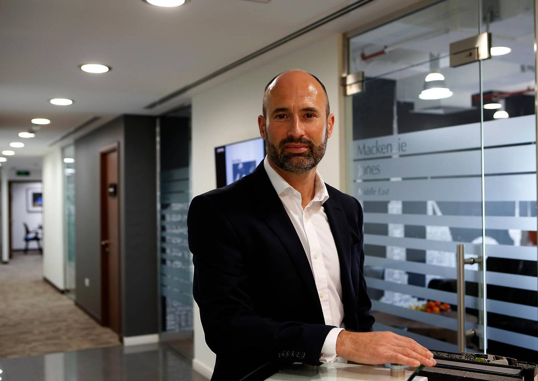 DUBAI - UNITED ARAB EMIRATES - 28FEB2017 - David Mackenzie, the CEO of Mackenzie Jones at his office in Dubai. Ravindranath K / The National ID: 54117 ( to go Jessica Hill for Business) *** Local Caption ***  RK2802-Mackenzie04.jpg