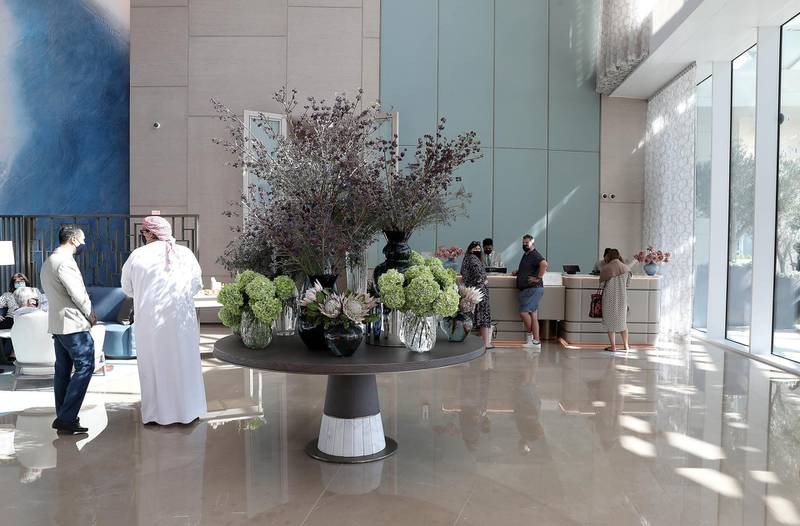 DUBAI, UNITED ARAB EMIRATES , December 24 – 2020 :-  View of the reception at the Address Beach Resort near Jumeirah Beach Residences in Dubai. ( Pawan Singh / The National ) For Lifestyle. Story by Janice