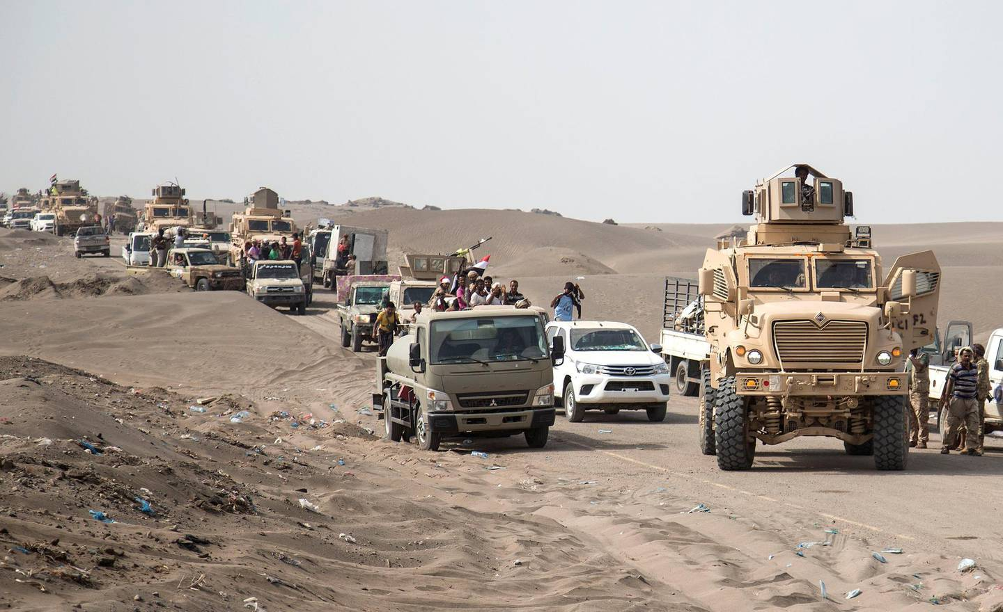 Military vehicles and forces from Tarik Salih' brigade   with some forces from Tehama Brigade, advance in  Hudayda along the west coast. May 29, 2018.  Photo/ Asmaa Waguih
