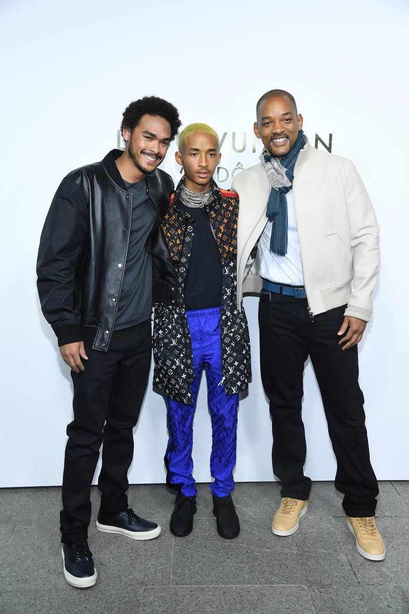 PARIS, FRANCE - OCTOBER 02: Jaden Smith (C), Will Smith (R) and a guest attend the Opening Of The Louis Vuitton Boutique as part of the Paris Fashion Week Womenswear  Spring/Summer 2018 on October 2, 2017 in Paris, France.  (Photo by Pascal Le Segretain/Getty Images)