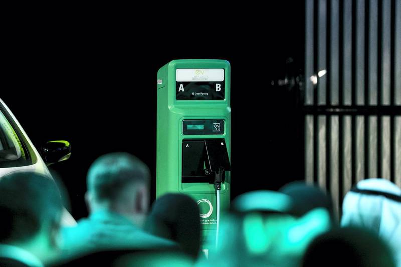 DUBAI, UNITED ARAB EMIRATES - SEP 24:  Charging station for electric vehicles displayed at a press conference today, announcing incentives to promote electric vehicles in Dubai.  (Photo by Reem Mohammed/The National)  Reporter: LeAnne Graves Section: NA
