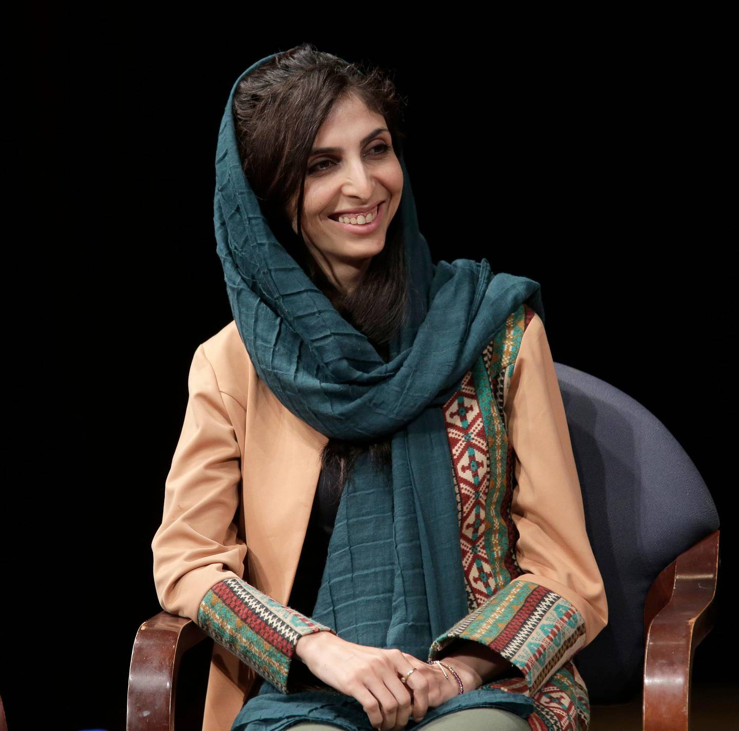 CEO of the Afghan Citadel Software Company Roya Mahboob participates in an event in New York, Tuesday, Oct. 9, 2018. (AP Photo/Seth Wenig)