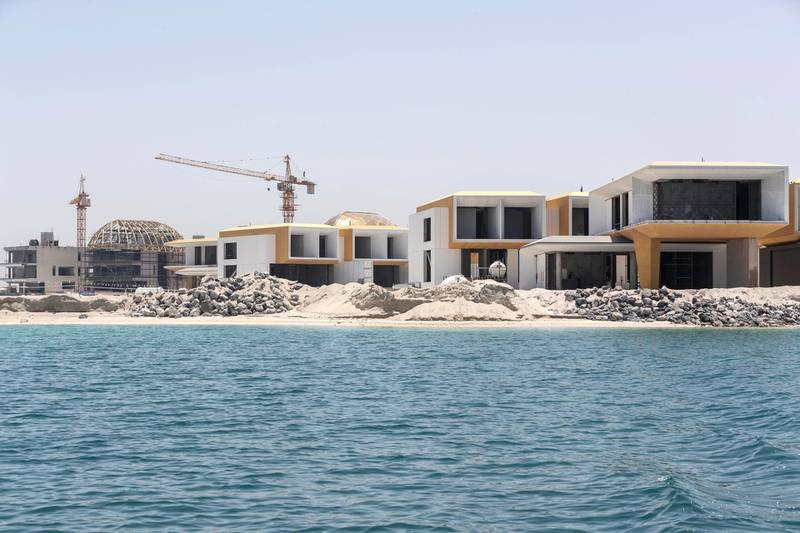 DUBAI, UNITED ARAB EMIRATES. 18 MAY 2020. The Heart of Europe project located on the World Islands of the coast of Dubai is progressing amidst the Covid-19 pandemic and is planning to sell units in the coming months to be delivered in October 2020. Construction along the German Island.  (Photo: Antonie Robertson/The National) Journalist: Patrick Ryan. Section: National.